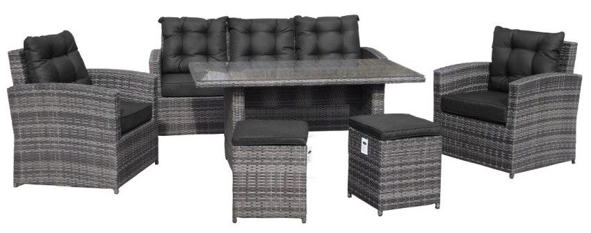 Komplet Meble Ogrodowe Technorattan Sofa Fotele 201011 B Szary